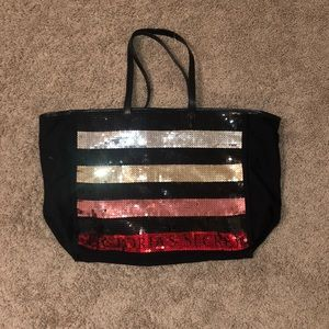 Multicolored sequin Victoria secret bag